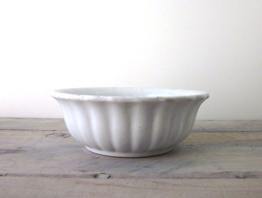 Antique white ironstone bowl scalloped by 22bayroad on etsy