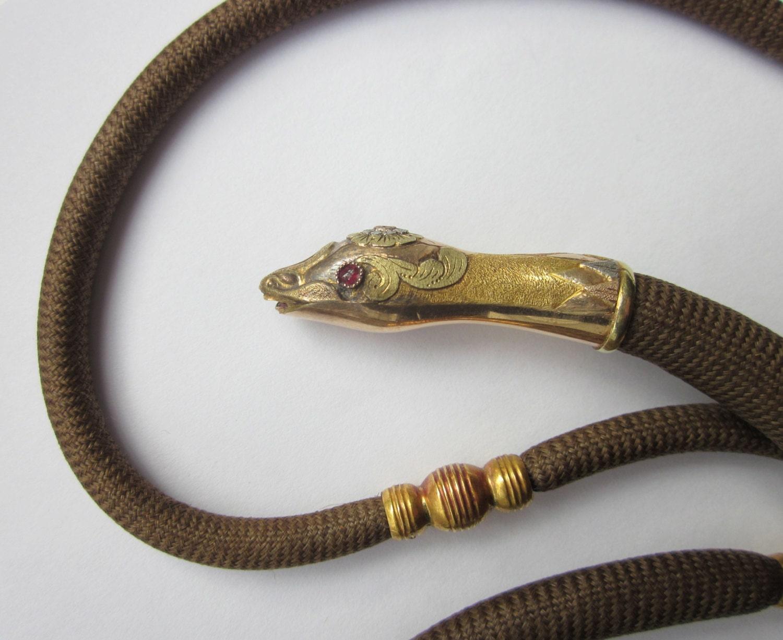 Antique (1830) GEORGIAN OUROBOROS 14K Snake/Serpent Opera Length Mourning Hair Necklace - magwildwoodscloset
