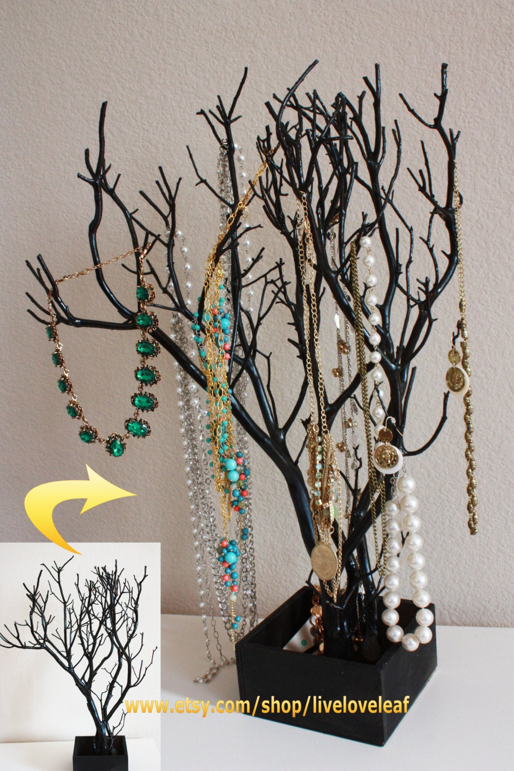 Black painted manzanita jewelry tree unique by liveloveleaf for Tree branch jewelry holder