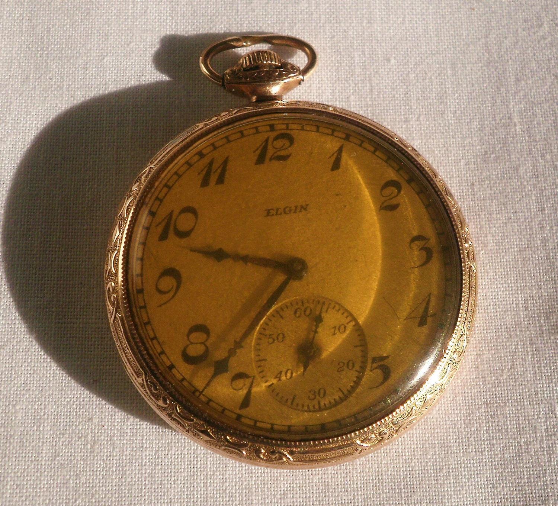 vintage gold elgin pocket by antiquario on etsy