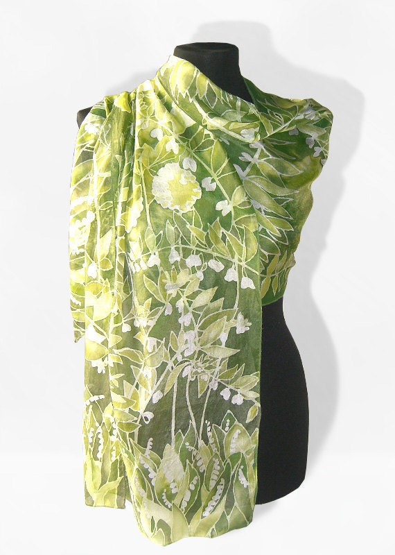 long silks scarves - lily of the valley - hand painted silk scarf - woman accessories scarves - flower scarf - white green scarf - MinkuLUL