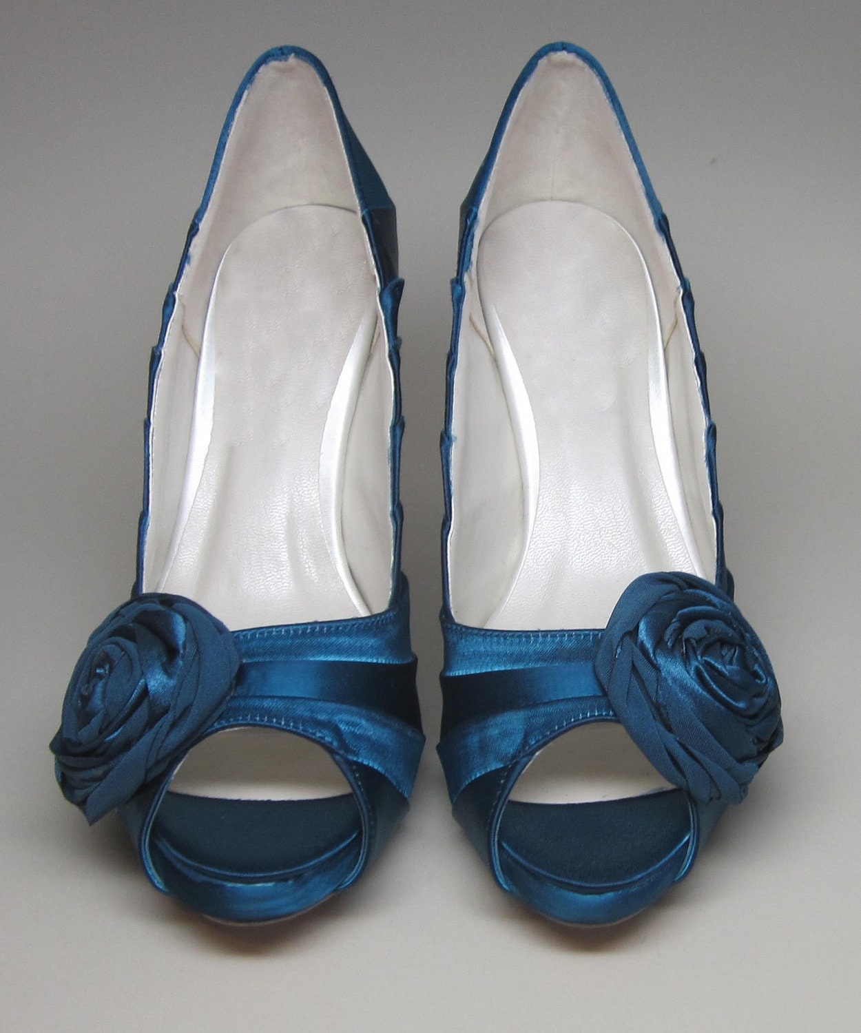 Items Similar To Blue Wedding Shoes Dark Turquoise Peeptoes With Matching Rosette Adornment