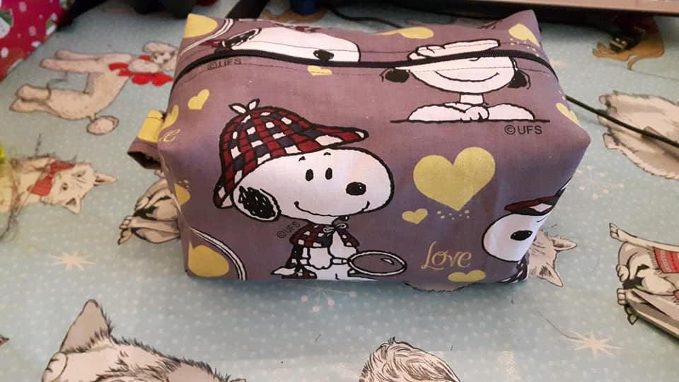 Handmade Sherlock Holmes Snoopy Zip Up Fabric Box Alternative Fathers Day Gift, Fully Lined, Shaving Box, Clipper Storage, Moustache Wax