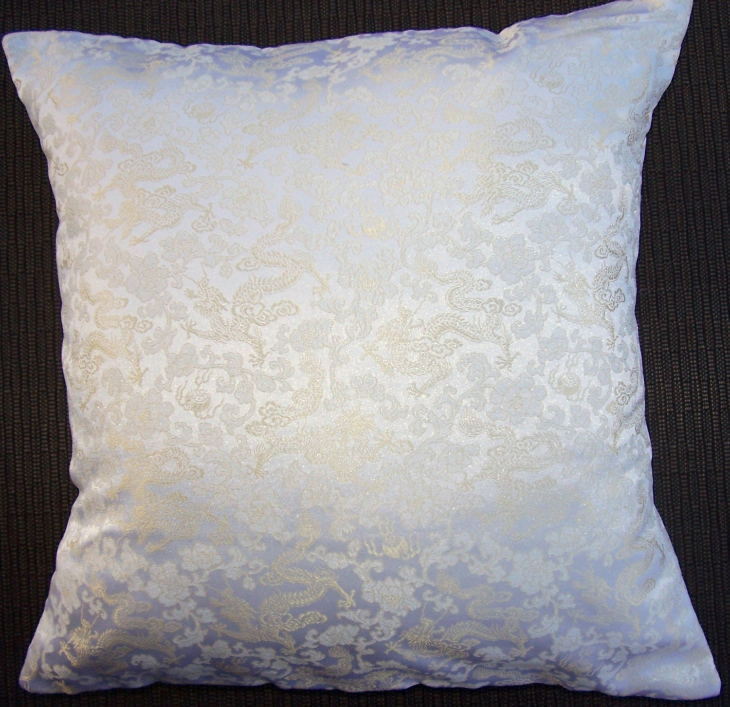 White and Gold Silk Throw Pillow Cover Ivory Silk by sassypillows