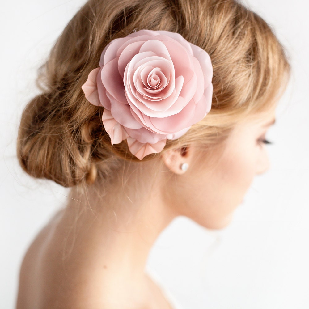 Wedding Hair Flowers Pink : Blush pink hair flower bridal rose clip by
