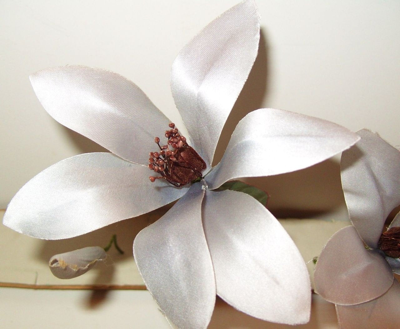 Vintage Millinery Flowers Icy Lavender/ Silver Gray Satin Lily