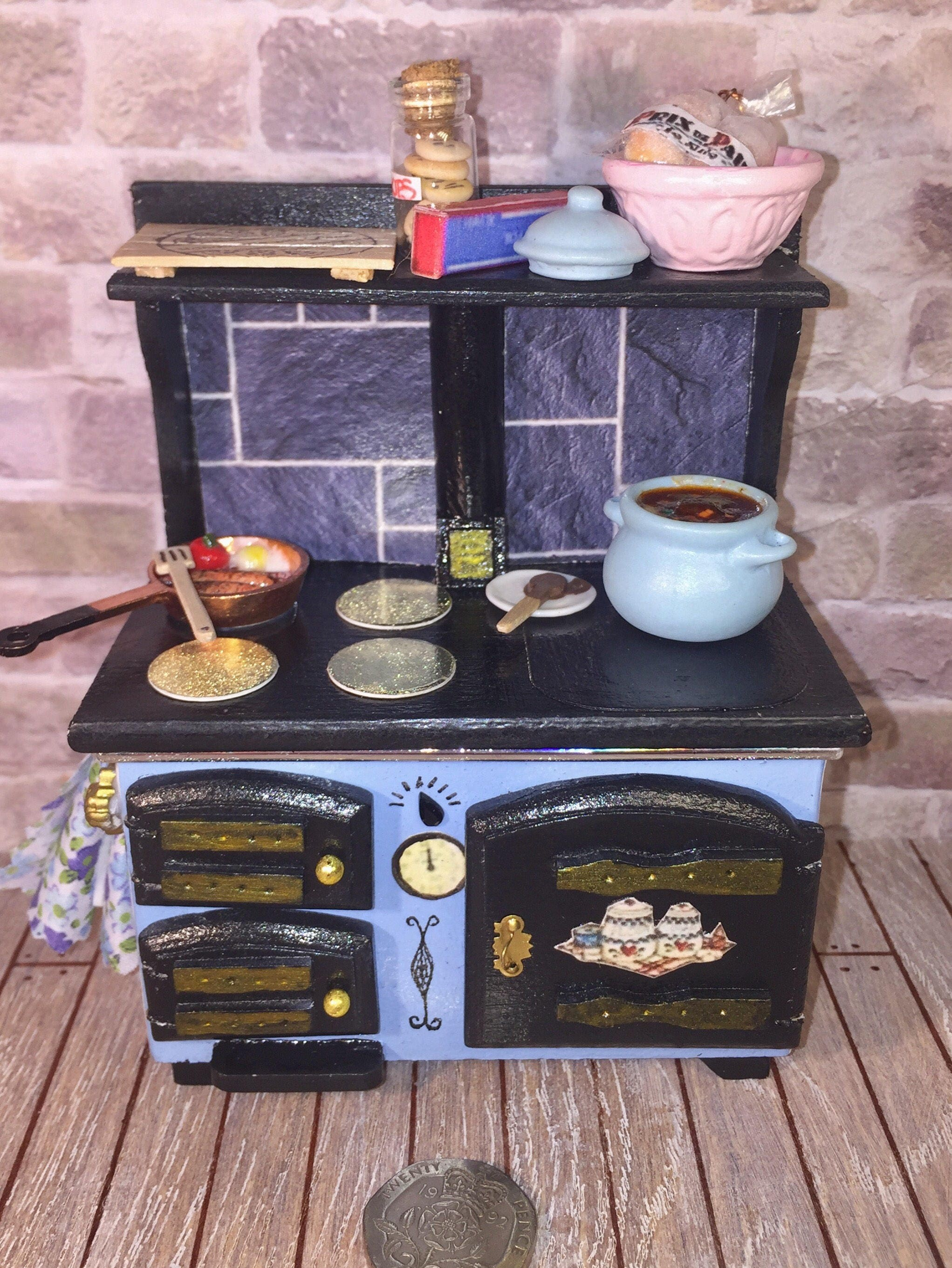 Dolls house kitchen furniture stove shabby range with accessories 112th scale ooak