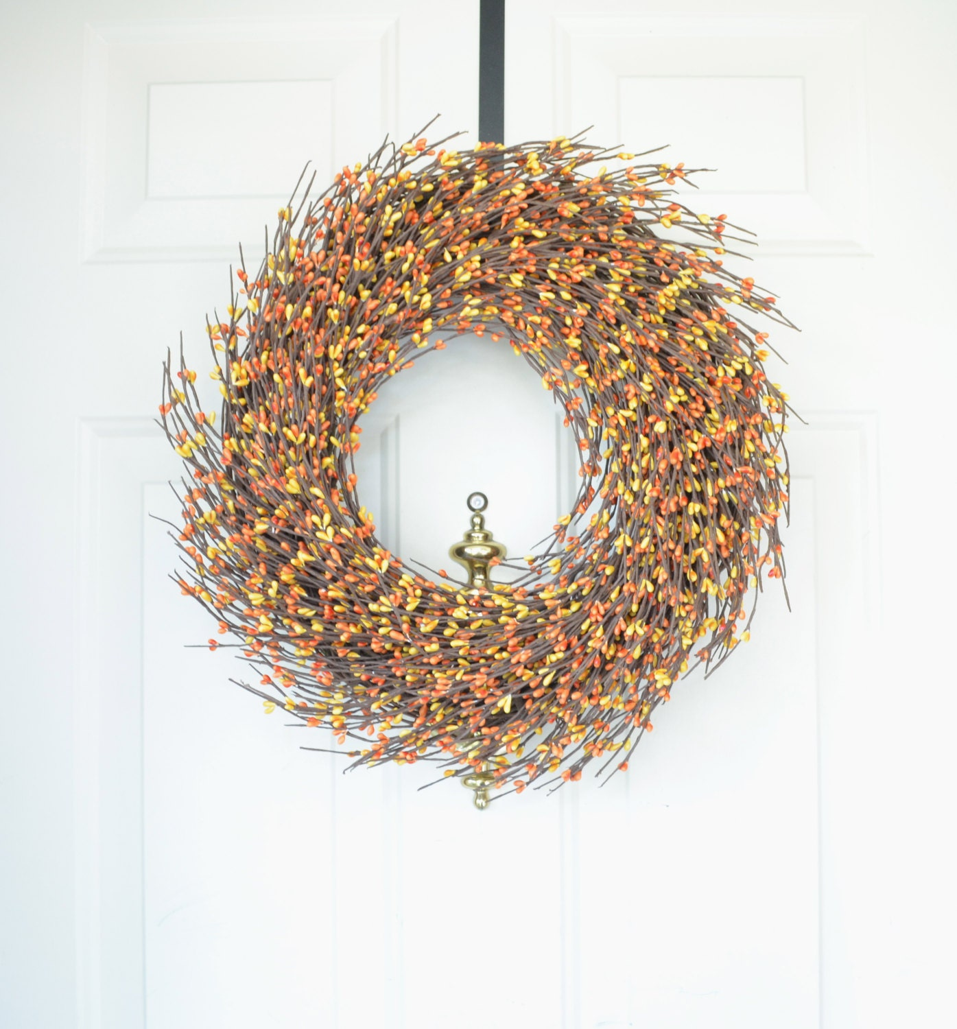 Yellow and Orange Berry Wreath for Fall -  Fall front door decor  -  Autumn wreath - Thanksgiving wreath - soft Fall colors - laurelsbylaurie