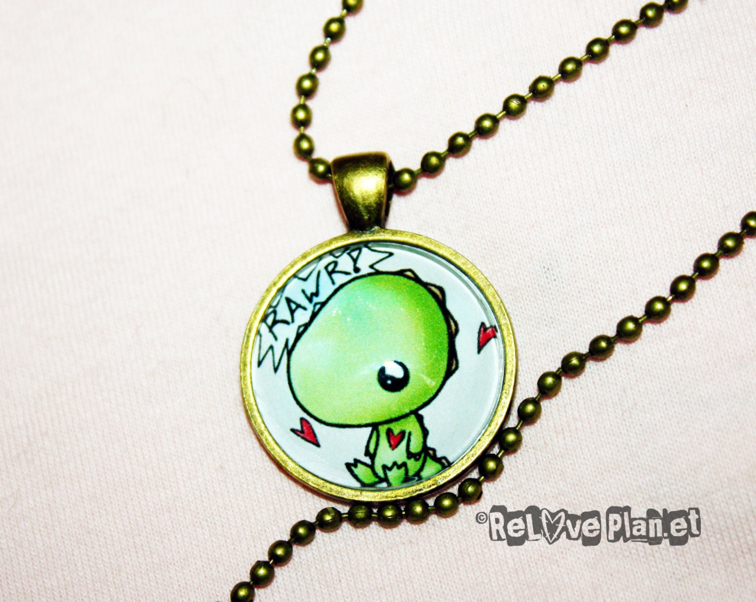 "Rawr Dino 1"" Pendant Necklace - or 2 for 20 - Happy cute kawaii baby dinosaur t-rex - ReLove Plan.et - ReLovePlanet"
