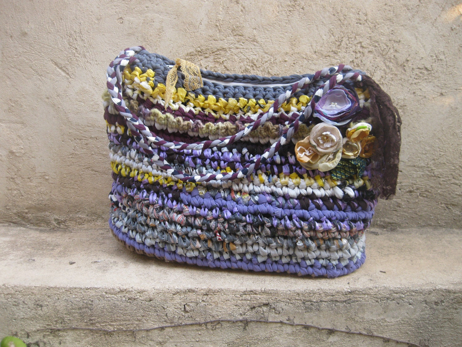 Crocheted handbag ... Purple, brown, yellow... eco friendly  ... Fabric and plarn crocheted tote - odpaam