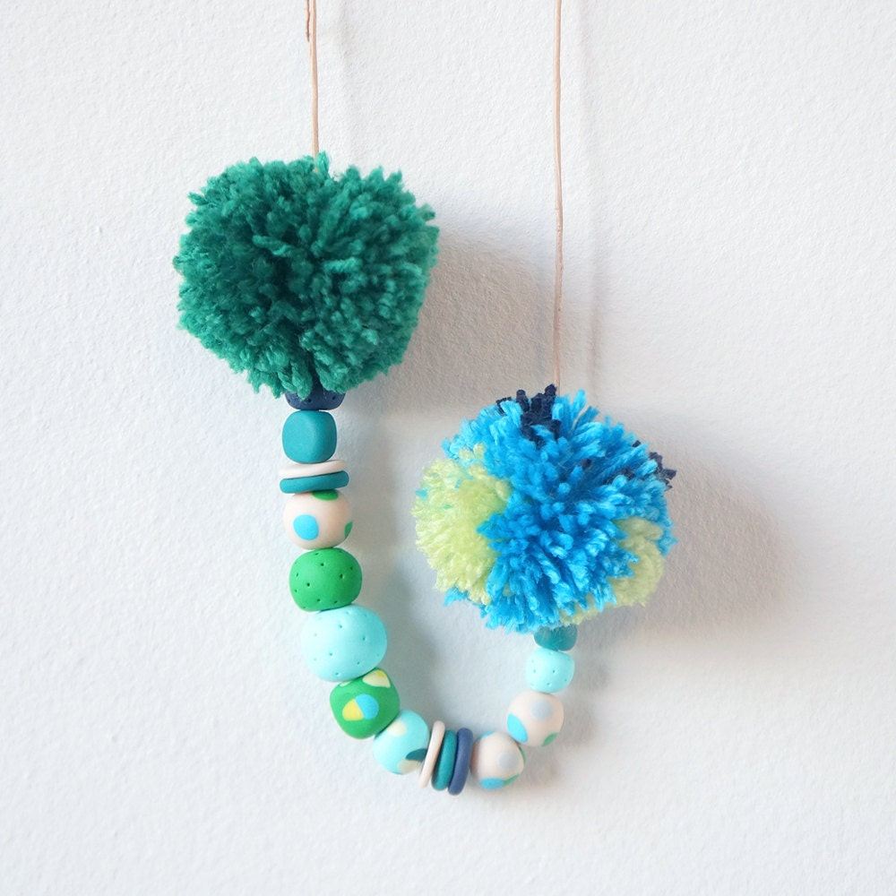 Pompom Necklace (One-off) - Green/Aqua - antipastel