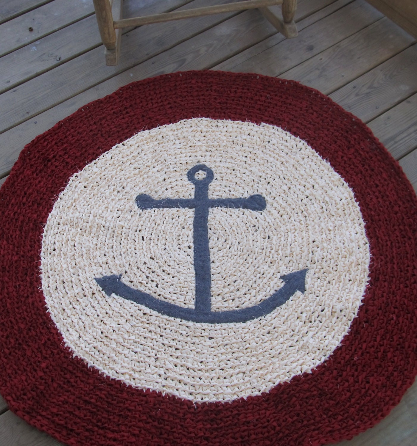 Anchor Rugs: Anchors Ahoy OOAK Crochet Nautical Round Rug Red By