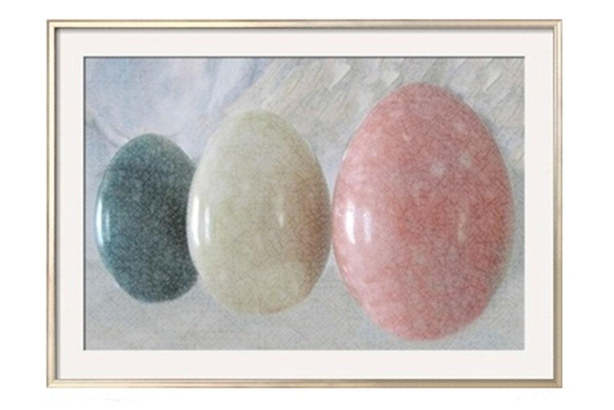 Easter Photograph Eggs, Pastel CRACKLED MARBLE EGGS , 36 x 24,  Minimalist Modern Fine Art Photograph