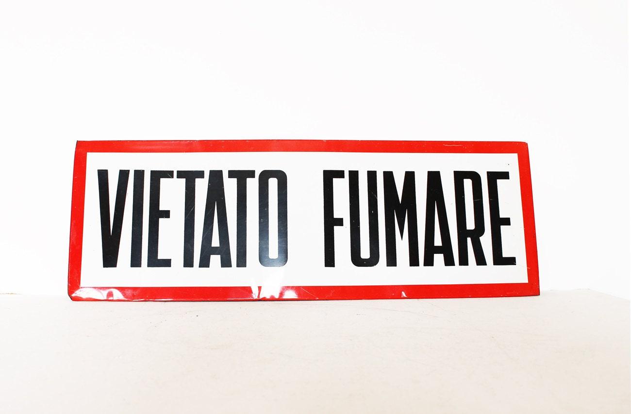 Vintage extra large industrial sign no smoking Italian - AnnaLouVintage