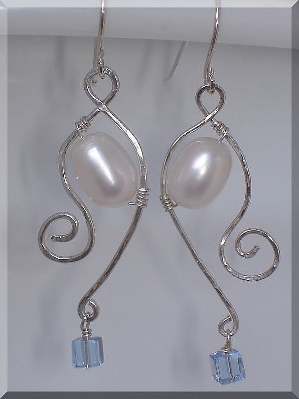 Fresh Water Pearl, Crystal and Sterling Silver Earrings -TT TEAM - jagrocks