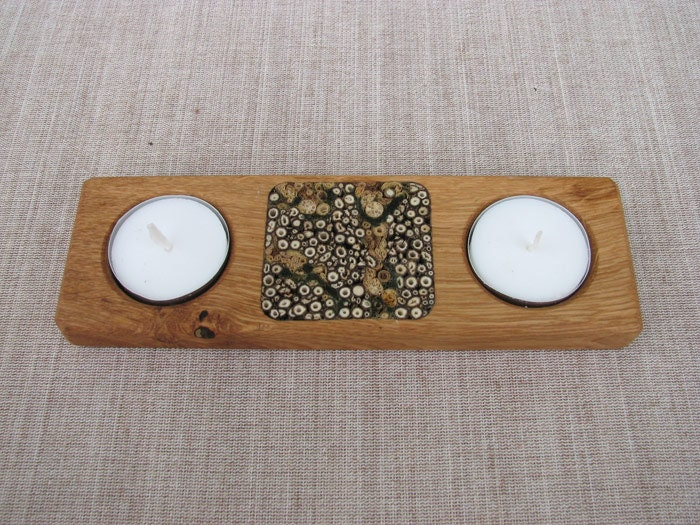 herbs decorated light holder - wooden candlestick  - 100% natural & handmade - AneriCrafts