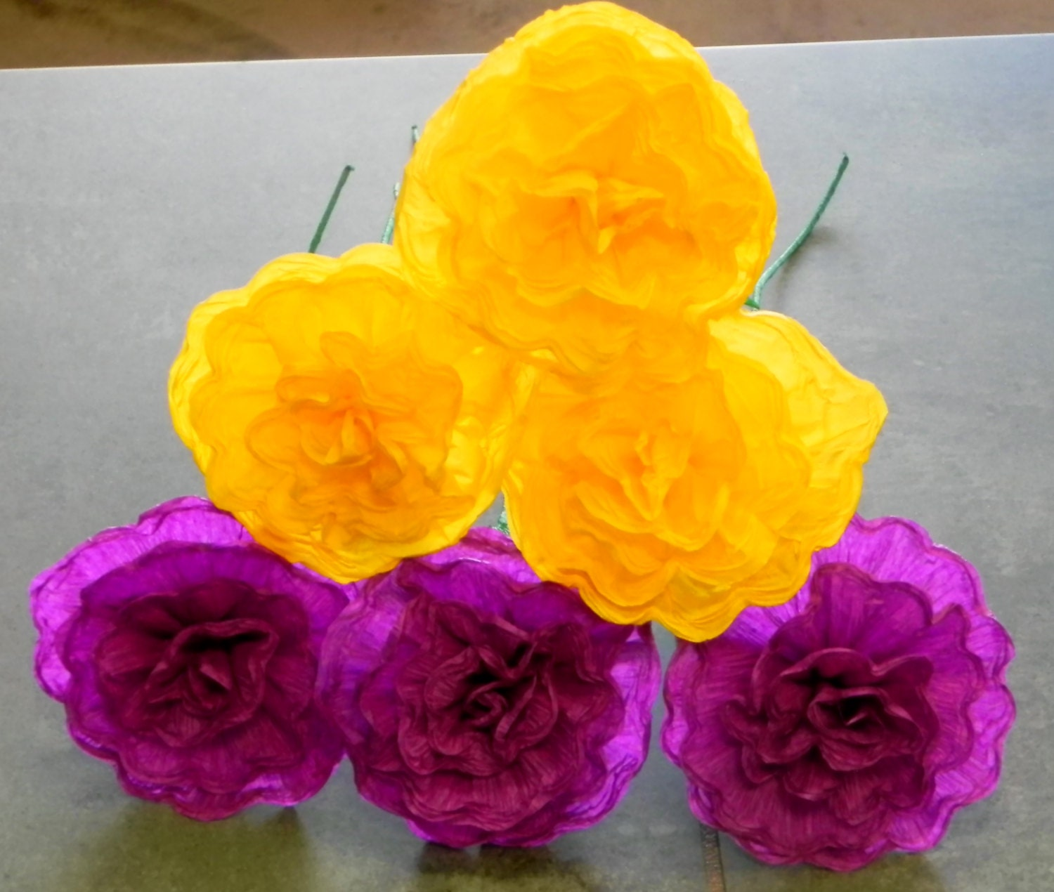 mexican crepe paper flowers set of 6 purple by. Black Bedroom Furniture Sets. Home Design Ideas