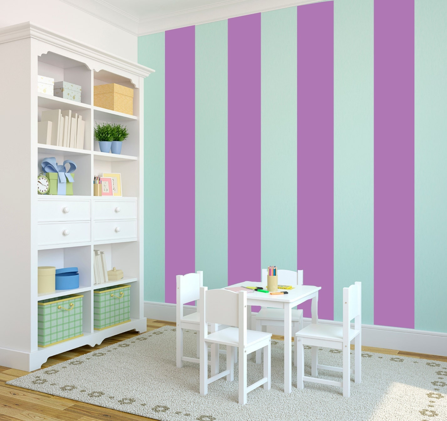 Wall Decor With Stripes : Wall stripes decal custom vinyl art stickers by