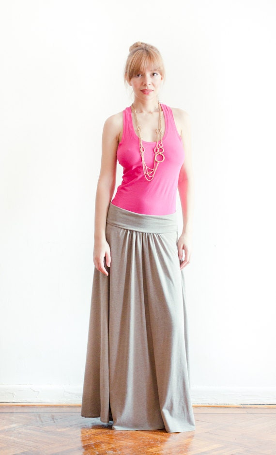 Cotton Jersey Long Skirt With Fold-Over Waistband - A Must Have This Season - Made-To-Measure