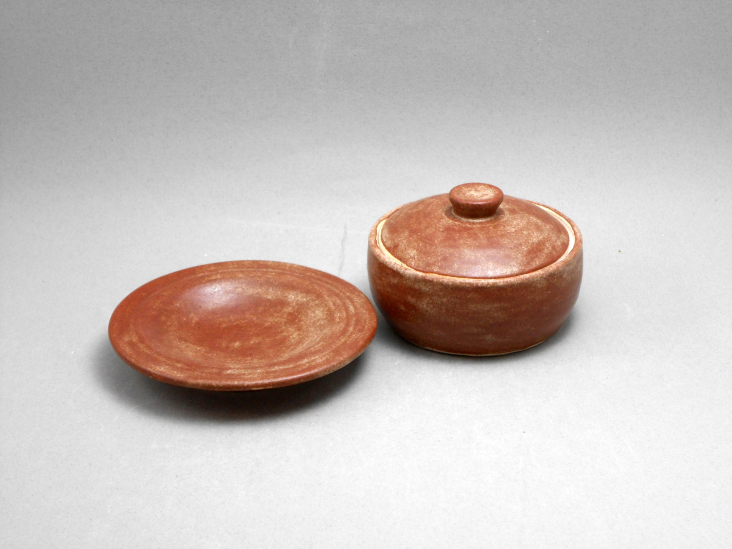 Ash holder and oil bowl set for Ash Wednesday, small pyxis, reddish brown glaze W12