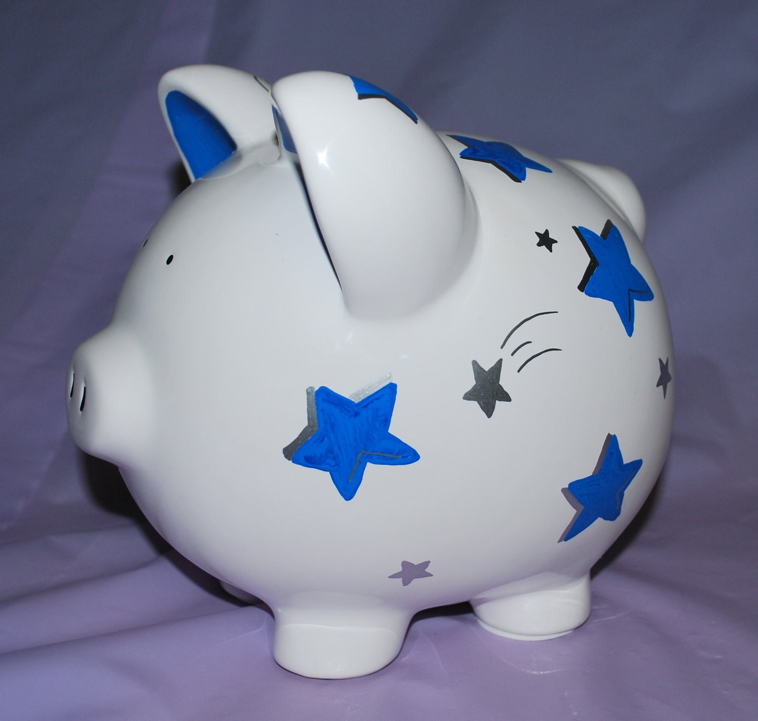 Piggy Bank Large Ceramic Stars Hand Painted By