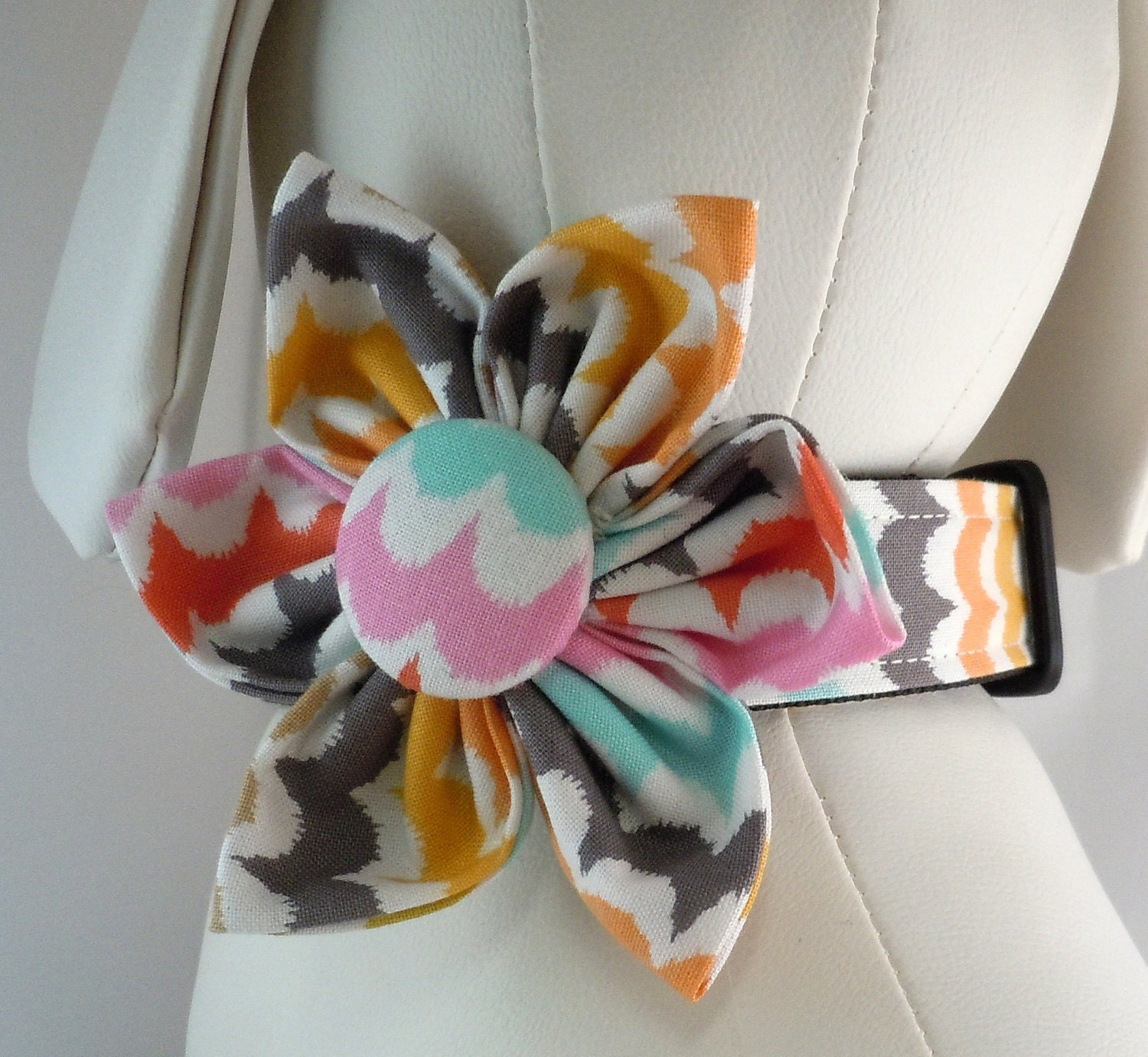Dog Collar Bow Tie And Flower Set