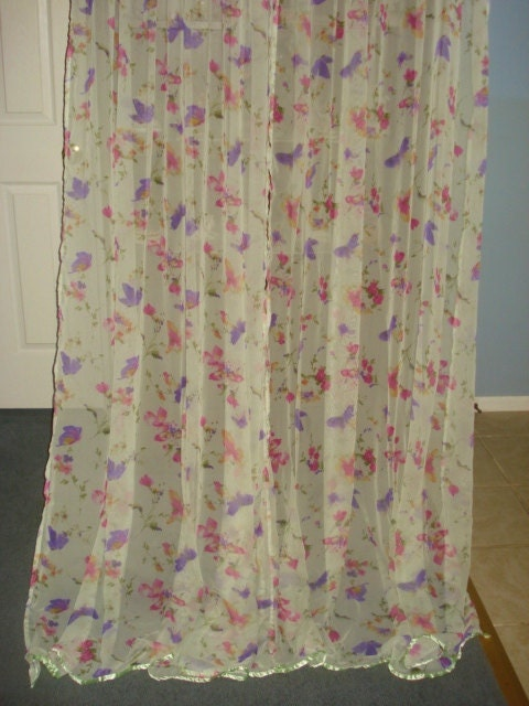 VINTAGE butterfly floral curtains 2 wide long panels by fabulous5