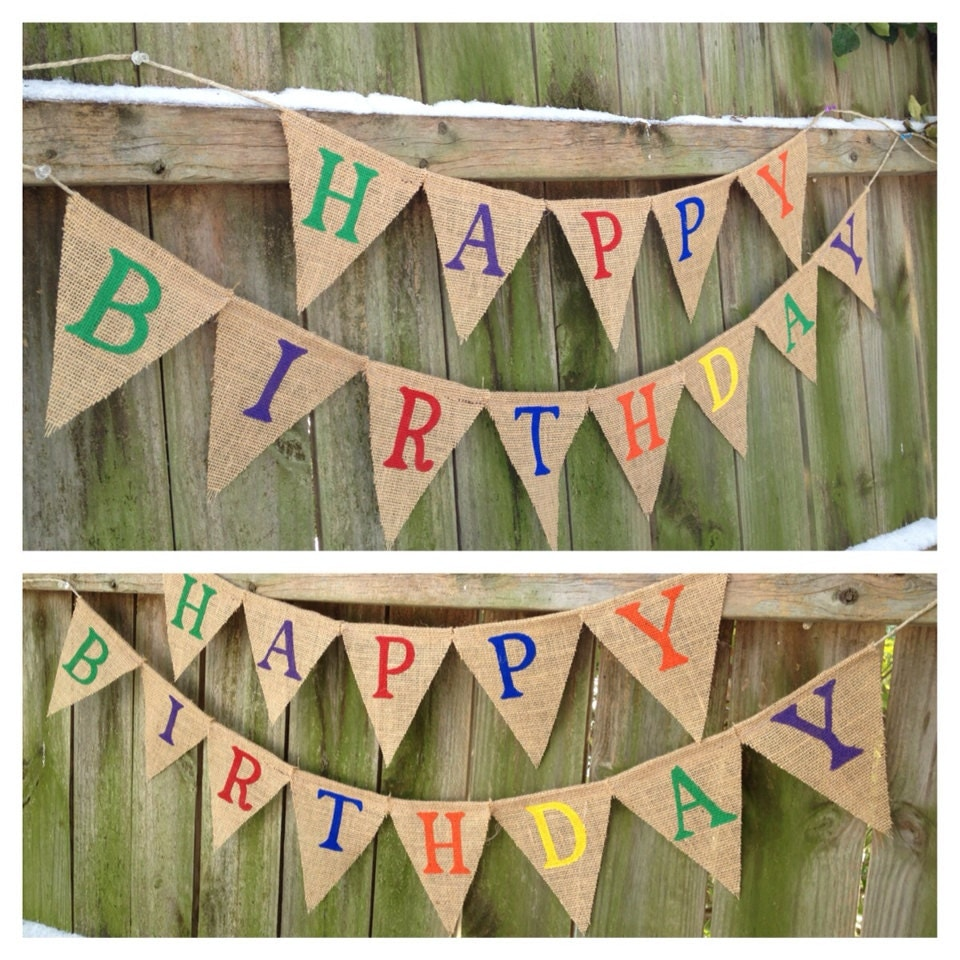 Happy Birthday Burlap Banner In Rainbow Of By