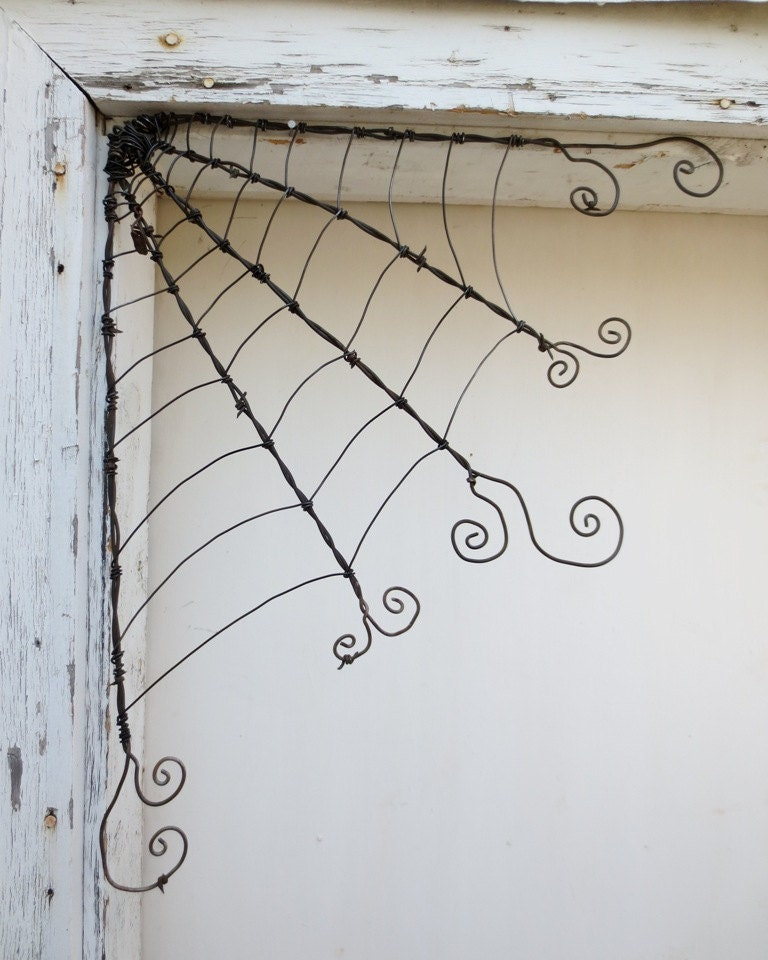 """18"""" Odd Twisted Barbed Wire Corner Spider Web Reclaimed Art - thedustyraven"""