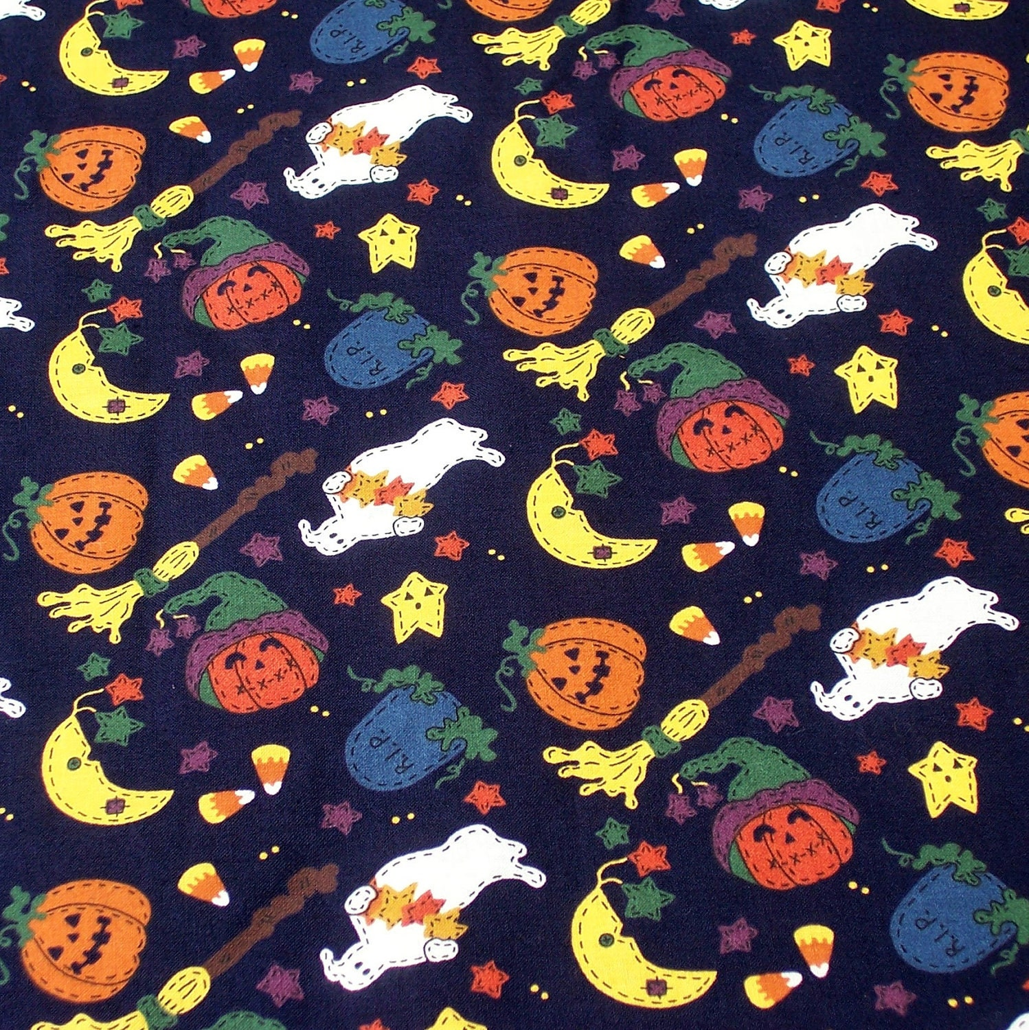 Items similar to halloween print fabric cotton ghosts for Moon print fabric