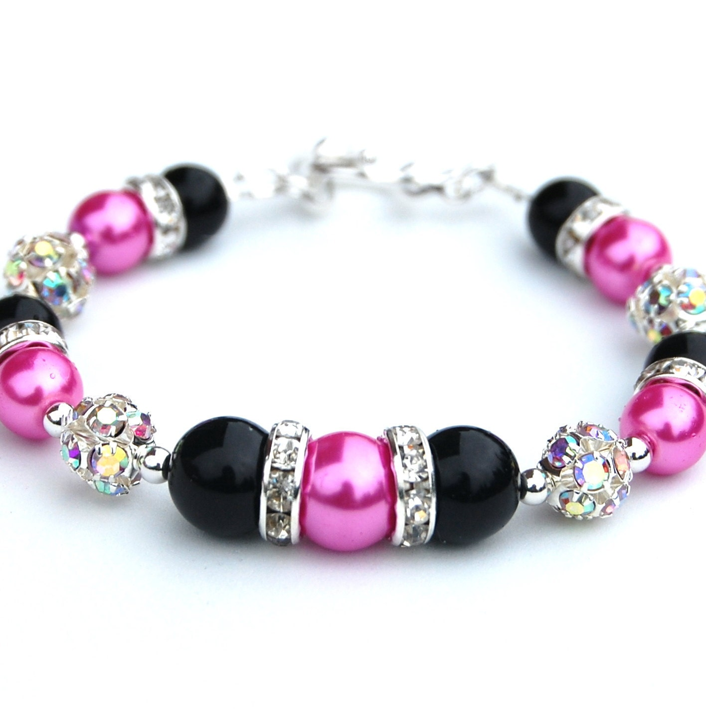 Hot Pink and Black Bridesmaid Bracelet, Rhinestone Pearl Jewelry, Bling Bracelet, Bridal Party