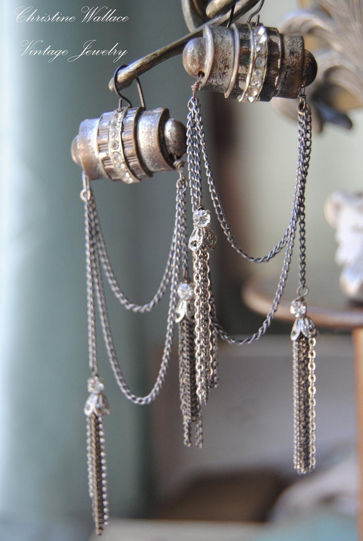 Французский Deco кисти - Vintage Сборка французский Rhinestone кнопки СЕРЬГИ цепи кисточкой