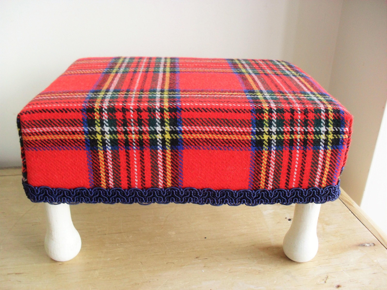 SMALL Upcycled Footstool Tartan Fabric Shabby Chic Stool Teddy DisplayDolls Stool Chalk Painted Stool Waxed  Aged Red Tartan Navy Braid