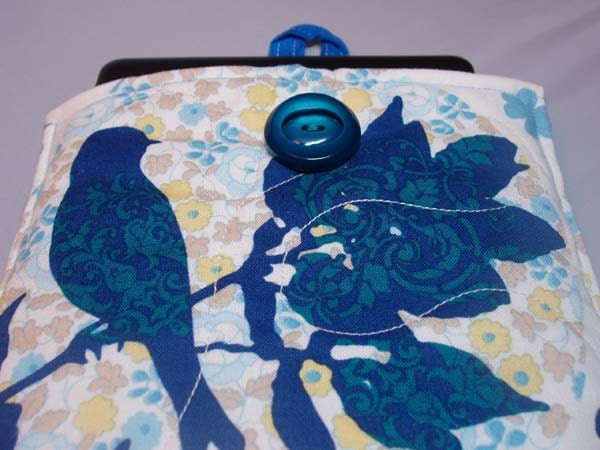 Handmade Quilted Kindle Nook Tablet E-Reader Sleeve in Blue Bird and Bird Cages Print