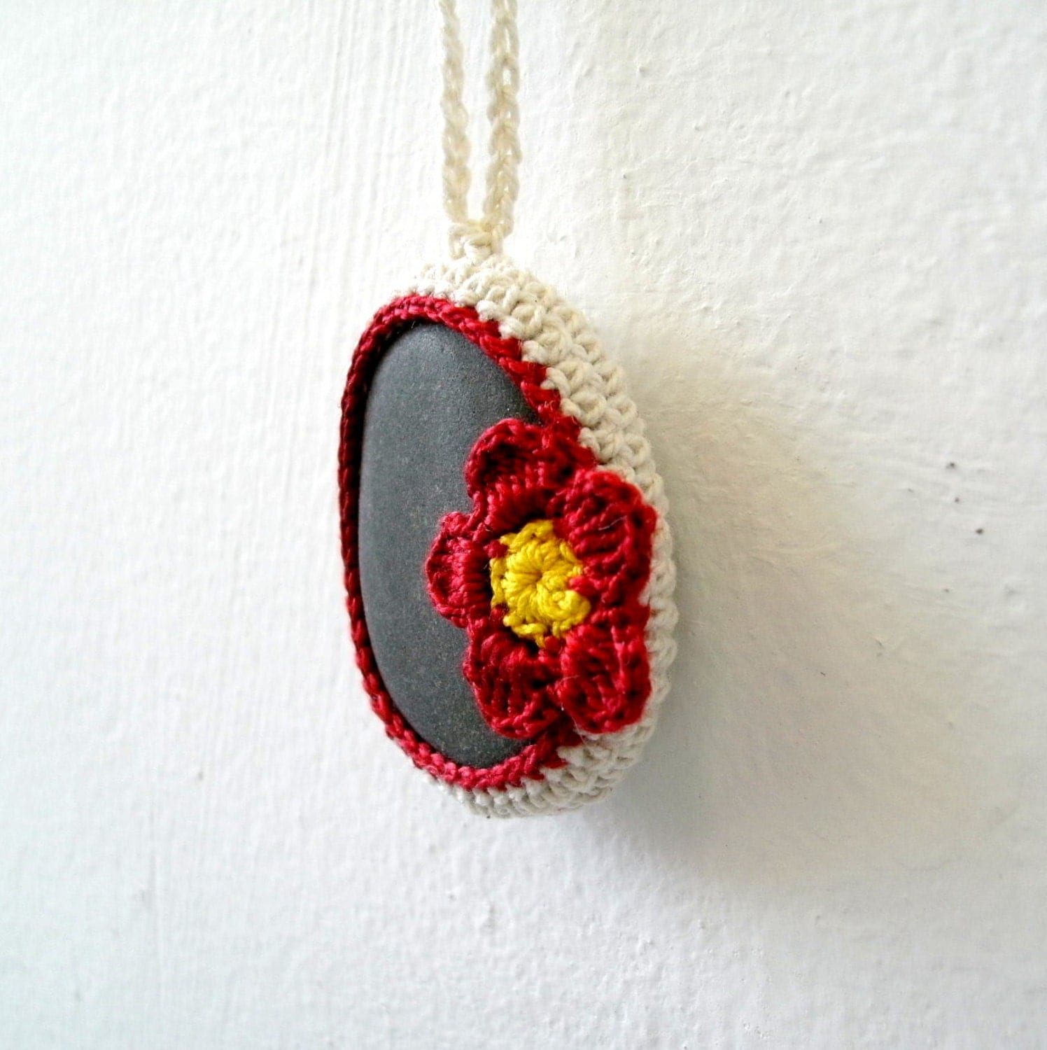 Items similar to Flower Stone Necklace Red Flower Necklace Crochet Stone