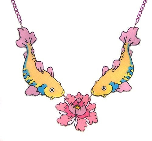 Koi and Peony Tattoo Necklace From SwallowKisses