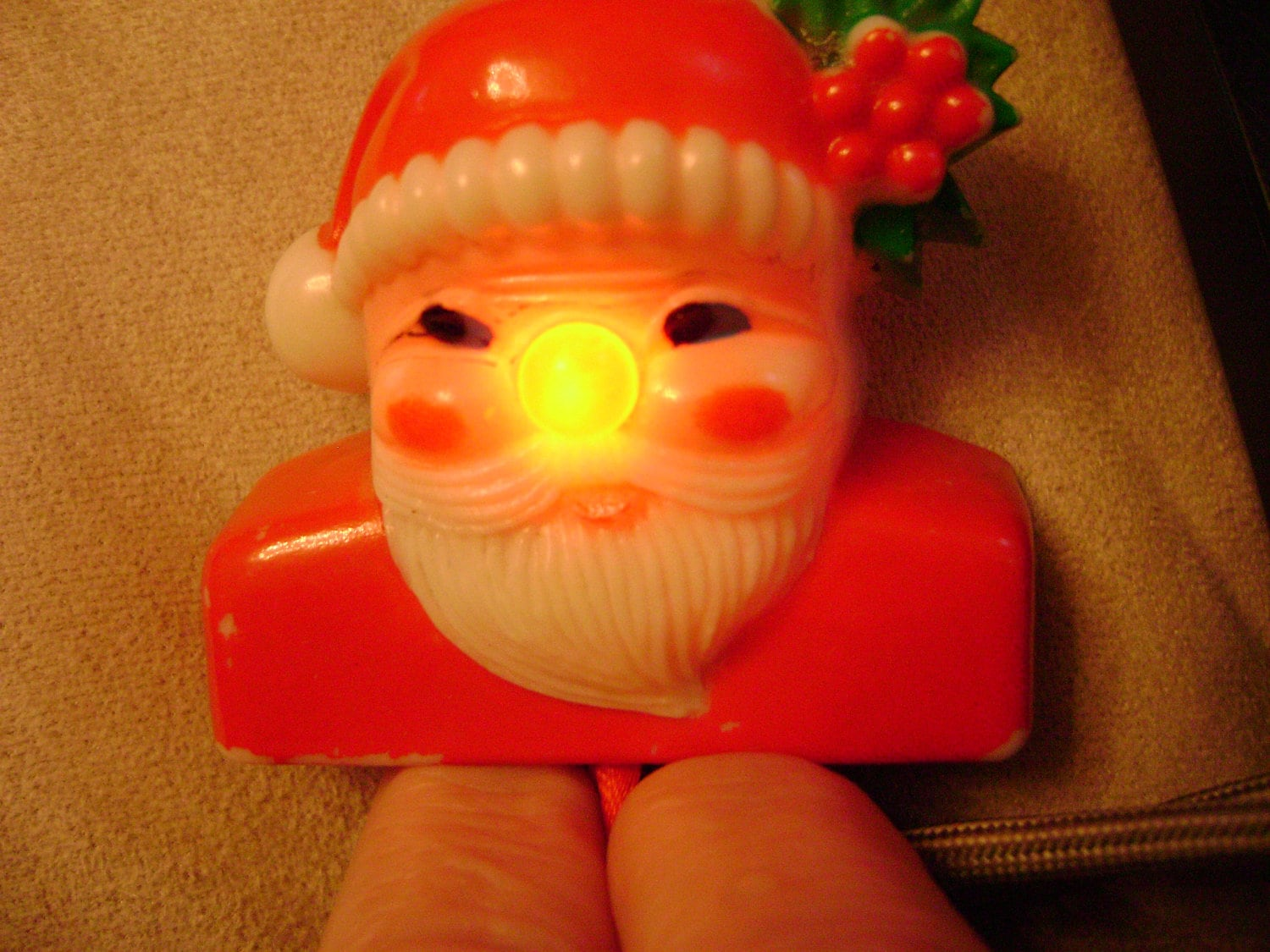 vintage 1960s SANTA light up brooch novelty christmas jewelry