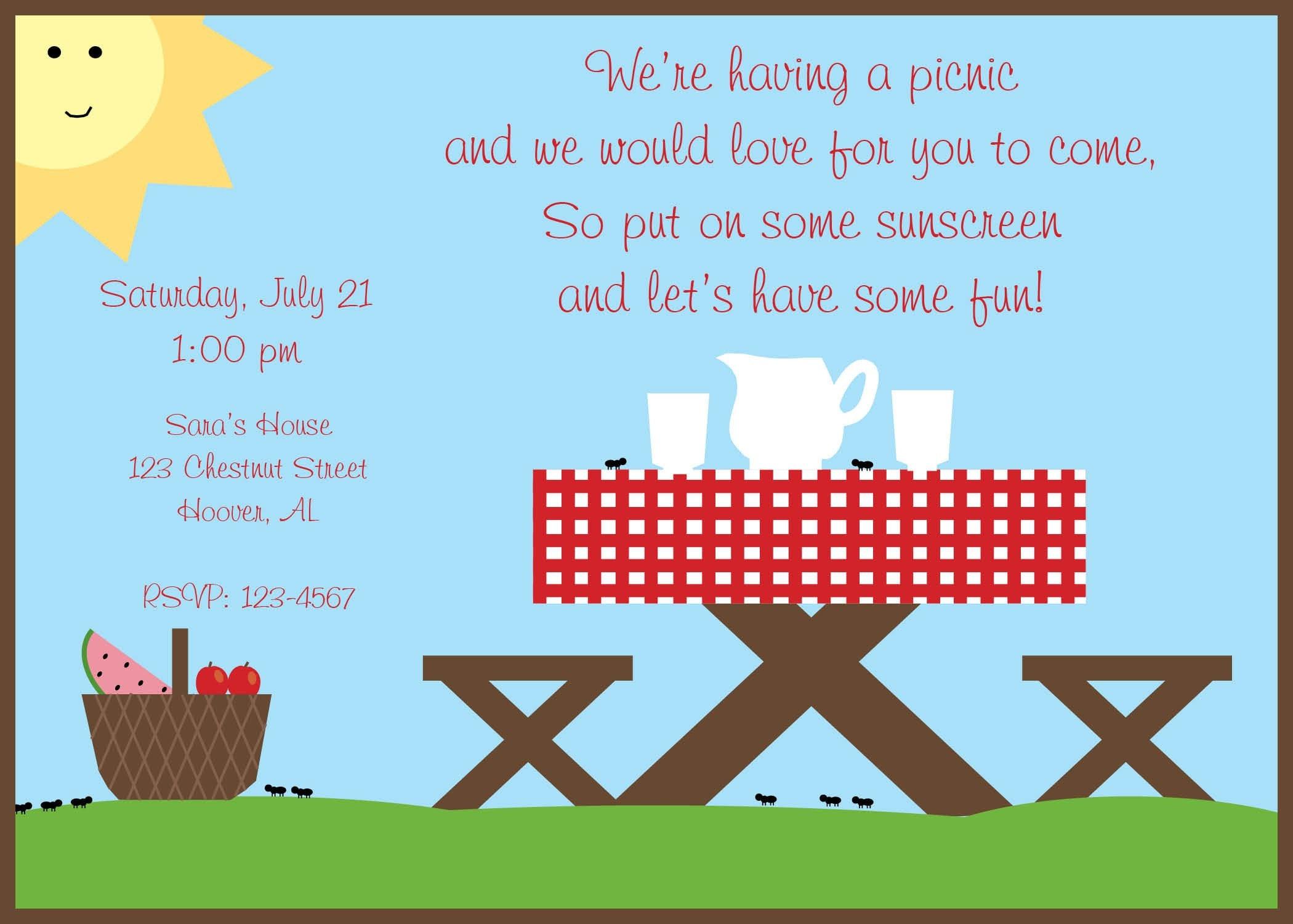 Blank Picnic Invitation Summer Picnic I...