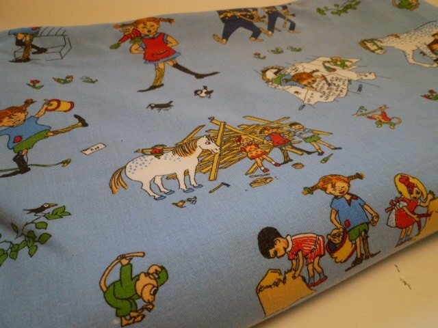 Pippi long stockings vintage kids fabric by fabbits on etsy for Retro kids fabric