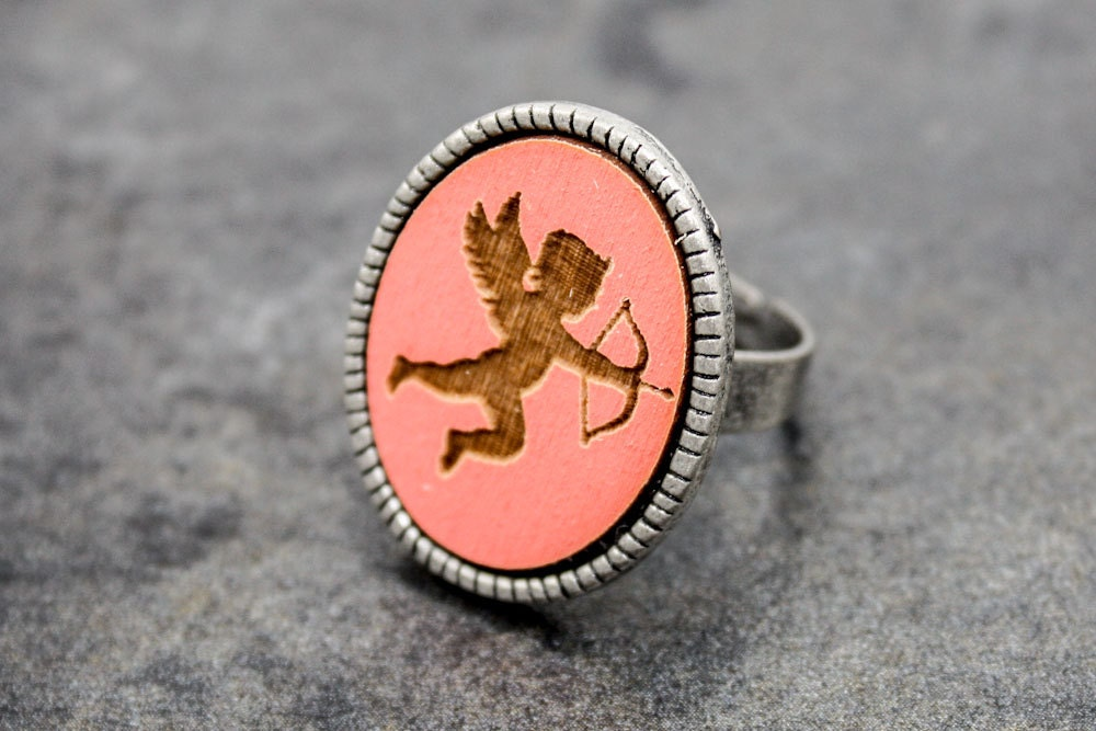 Valentine's Day Ring - Cupid (Neon Coral) - OnceAgainSam
