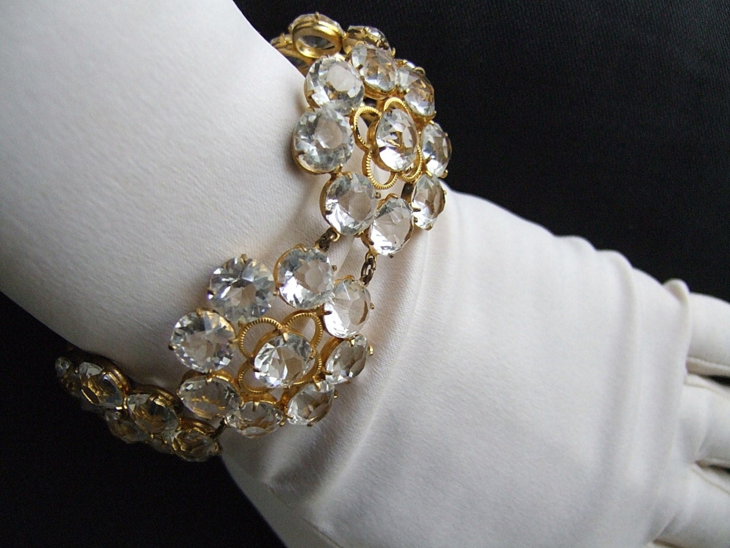 "Old Hollywood Crystal Bracelet Vintage 40's Crystal Flower Bracelet Sparkling Clear Open Back Prong Set Crystals 1"" Flowers Statement Piece - materialmemorieslane"