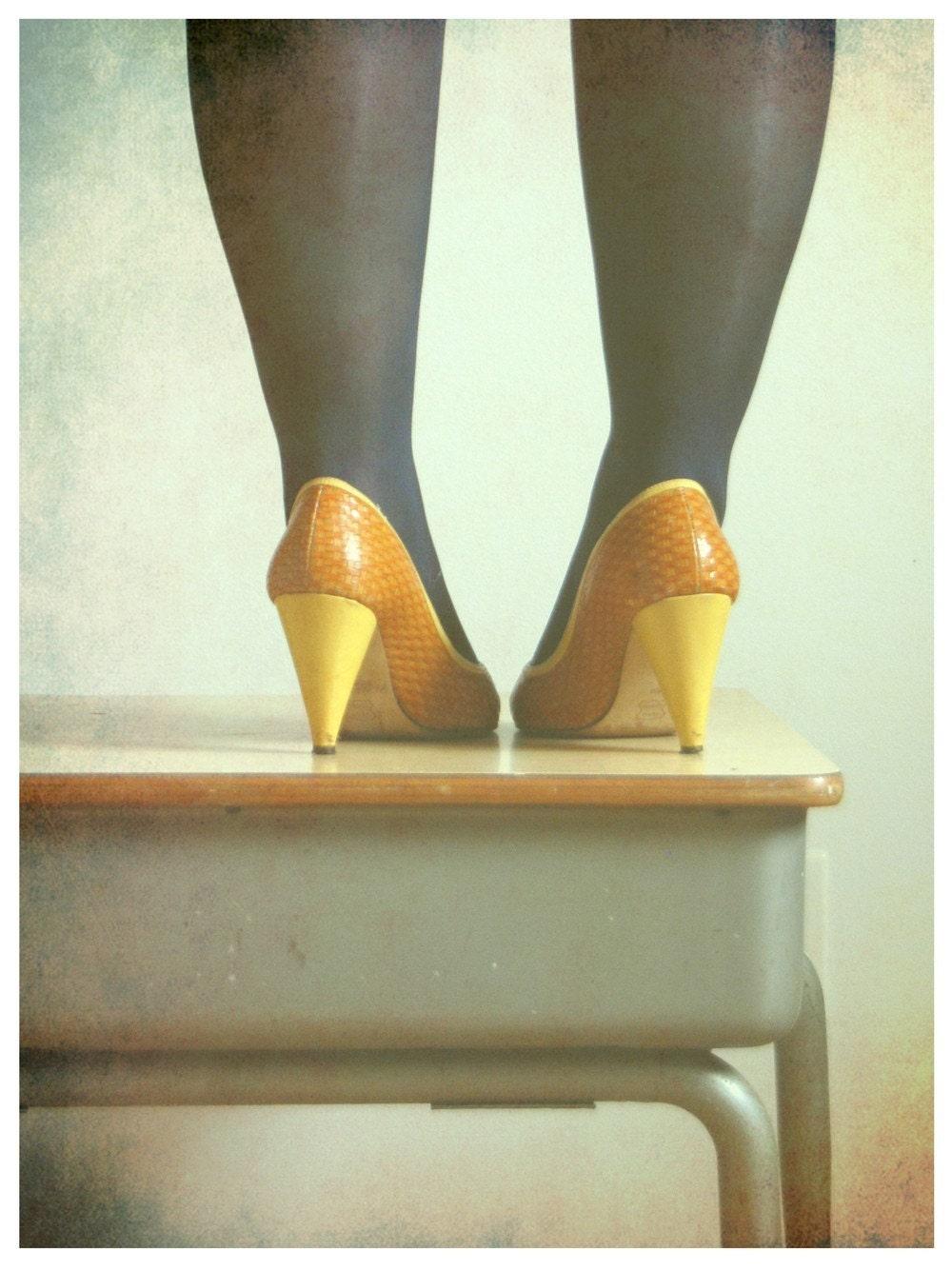 My Pretty Power 5x7 Fine Art Print--Vintage Shoes Elementary School Desk Retro Photograph