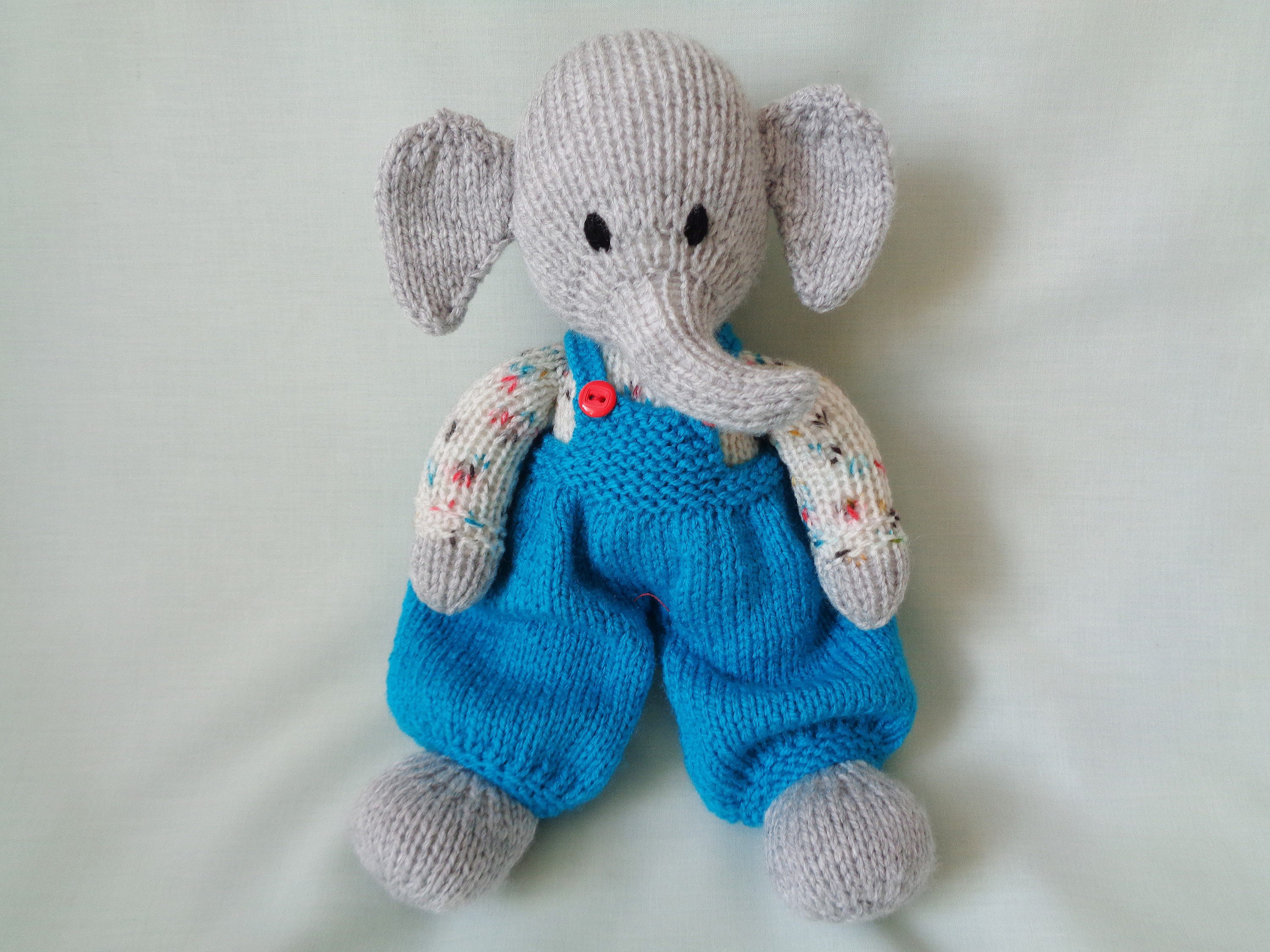 Elephant Hand Knitted Elephant Dressed Elephant Toy Elephant baby gift child gift little boy gift Nursery Decor