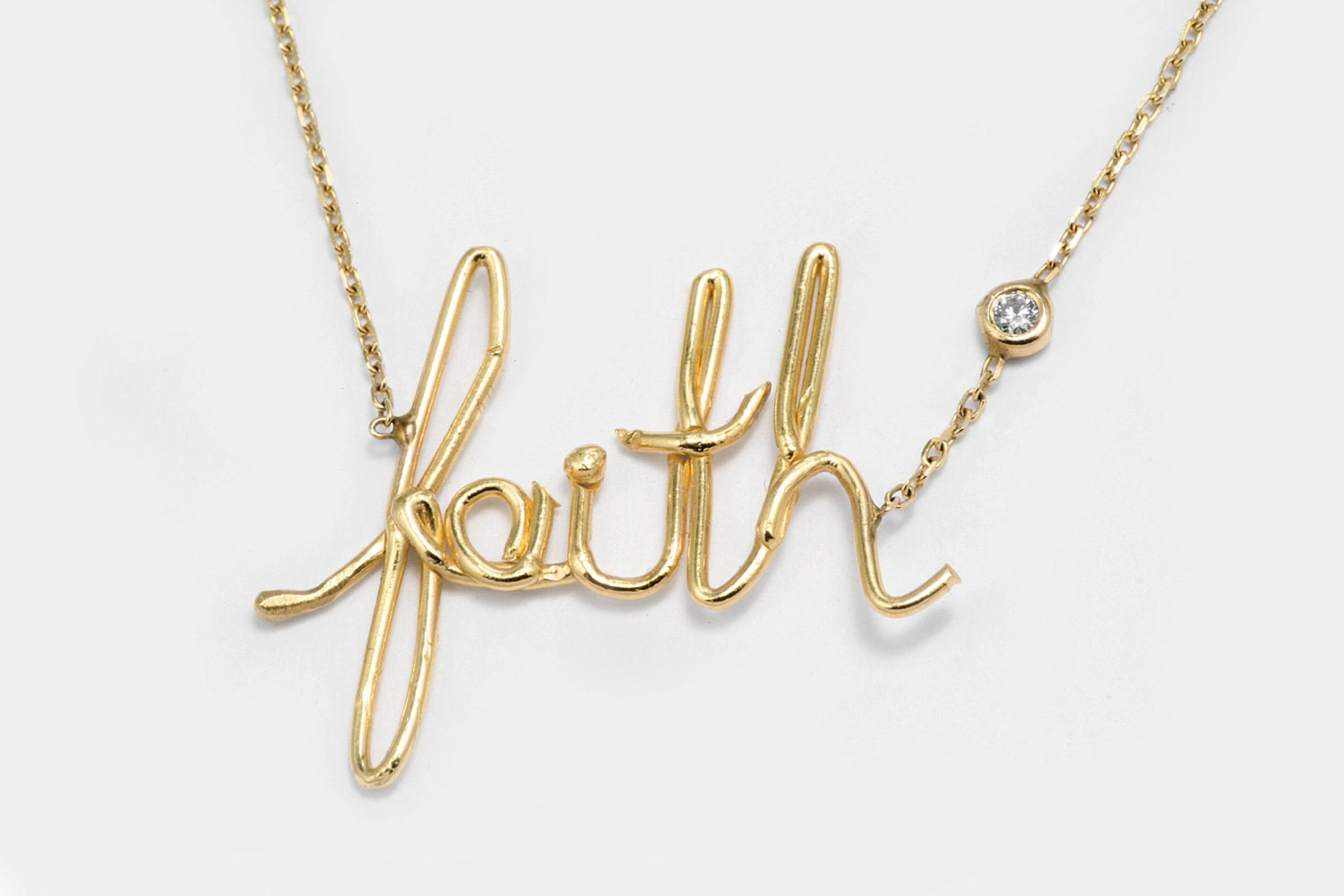 handmade necklace faith gold pendant necklace by