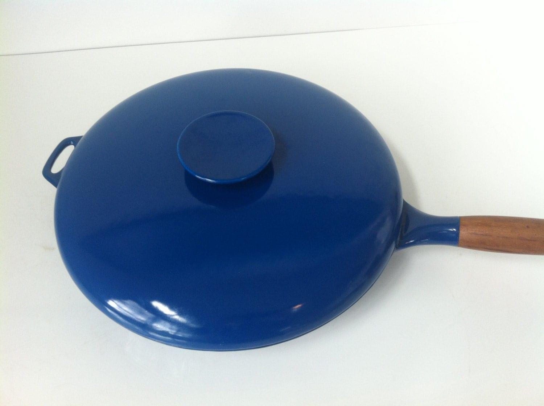 vintage copco blue enamel cast iron skillet by aforkintheforest. Black Bedroom Furniture Sets. Home Design Ideas