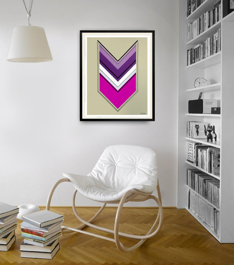 Original abstract painting on paper. Arrow painting. Geometric art with purple, silver, black, and white. - JoDiquez