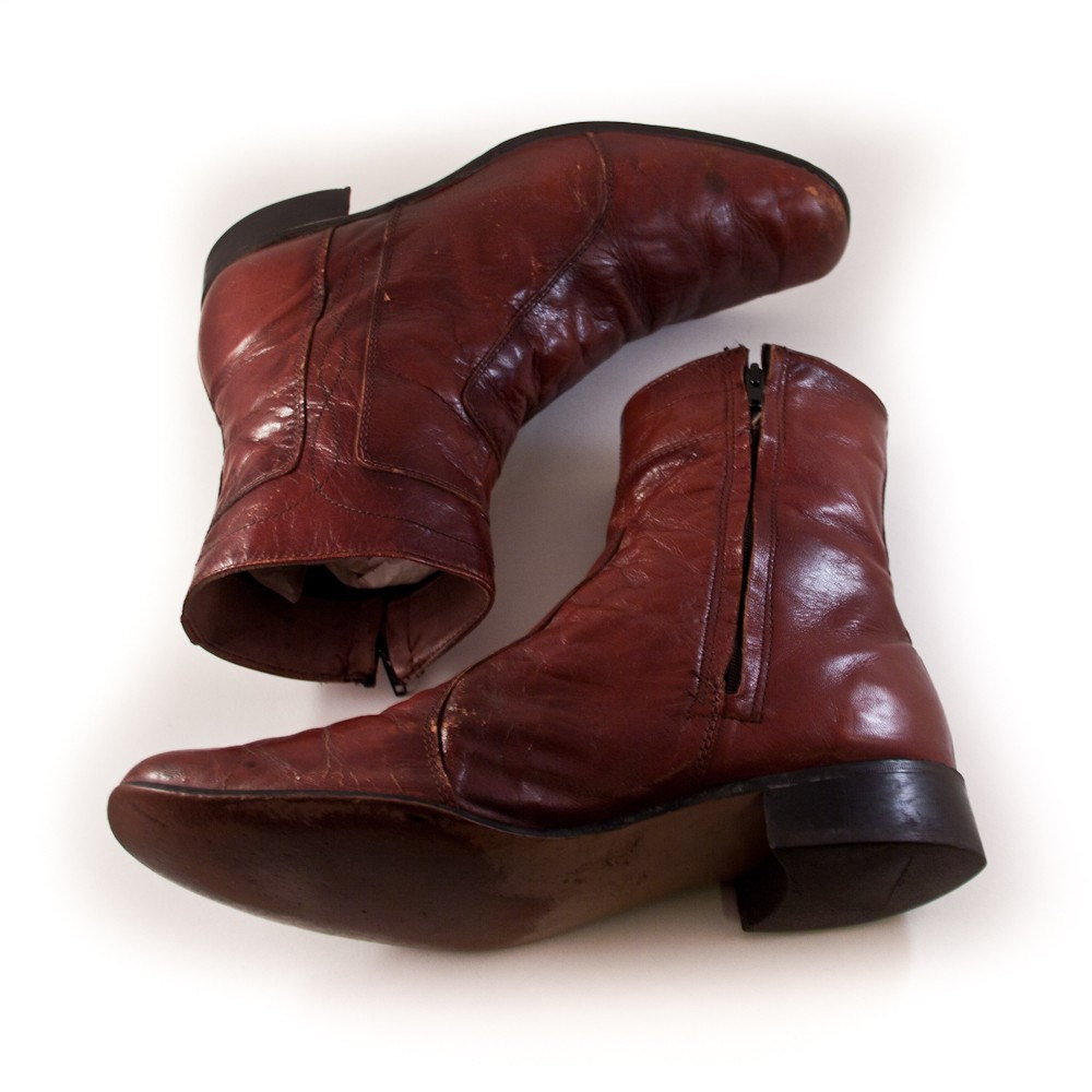 vintage leather boots s zipper ankle boot by goodmerchants