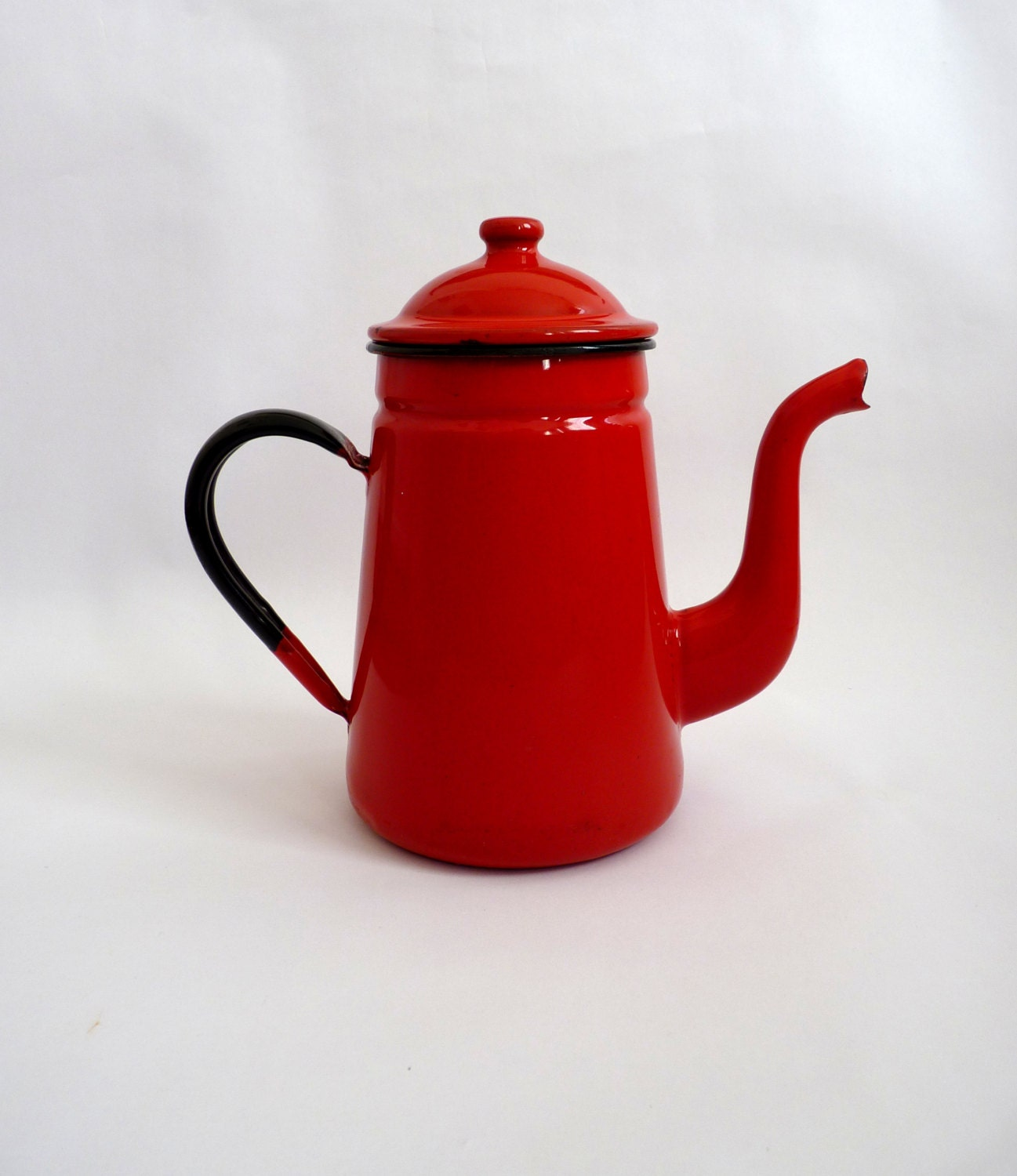 Vintage Red Enamel Coffee Pot