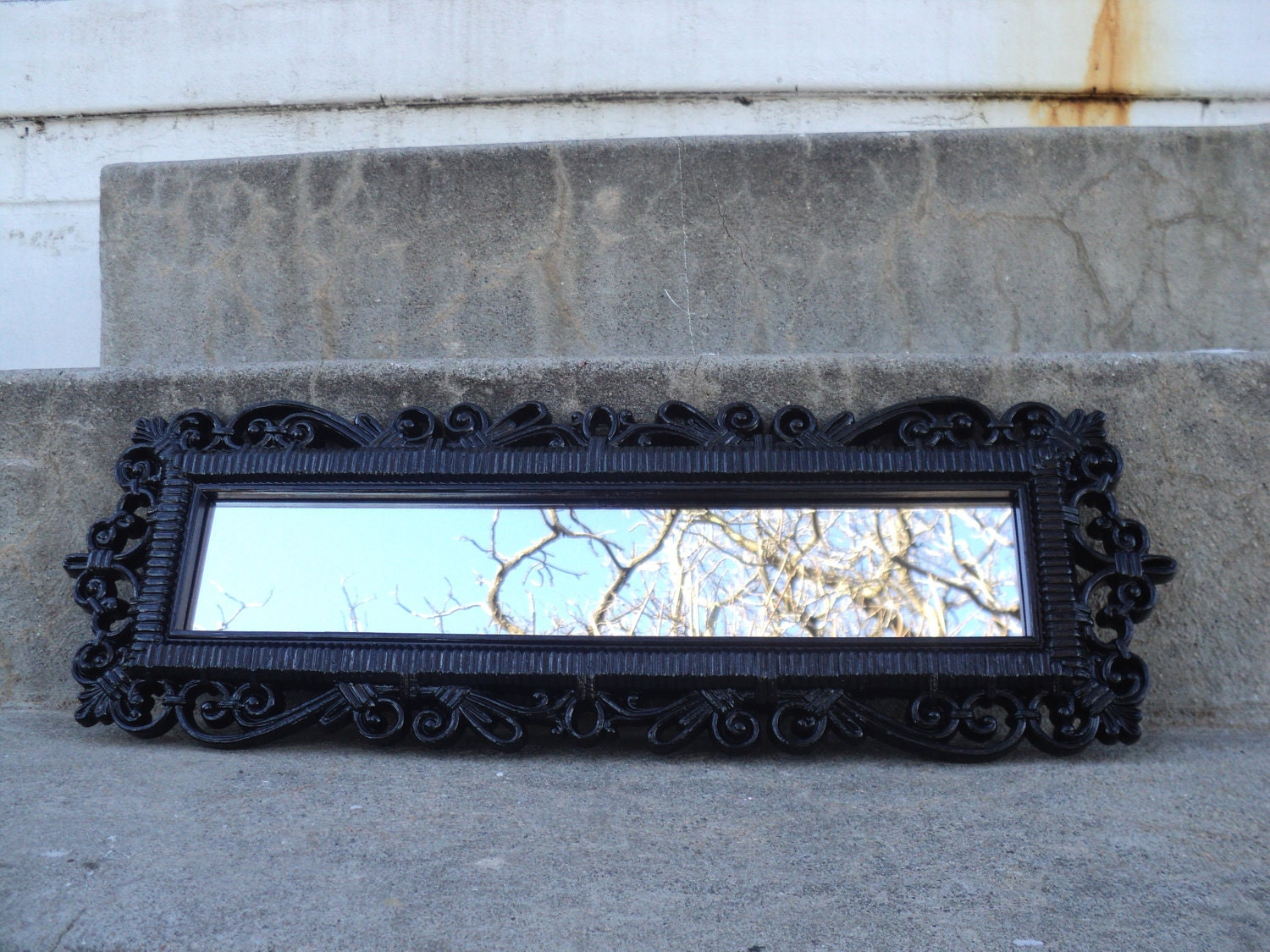 Fabulous Black Ornate Wall Mirror Vintage by melissap6908 on Etsy