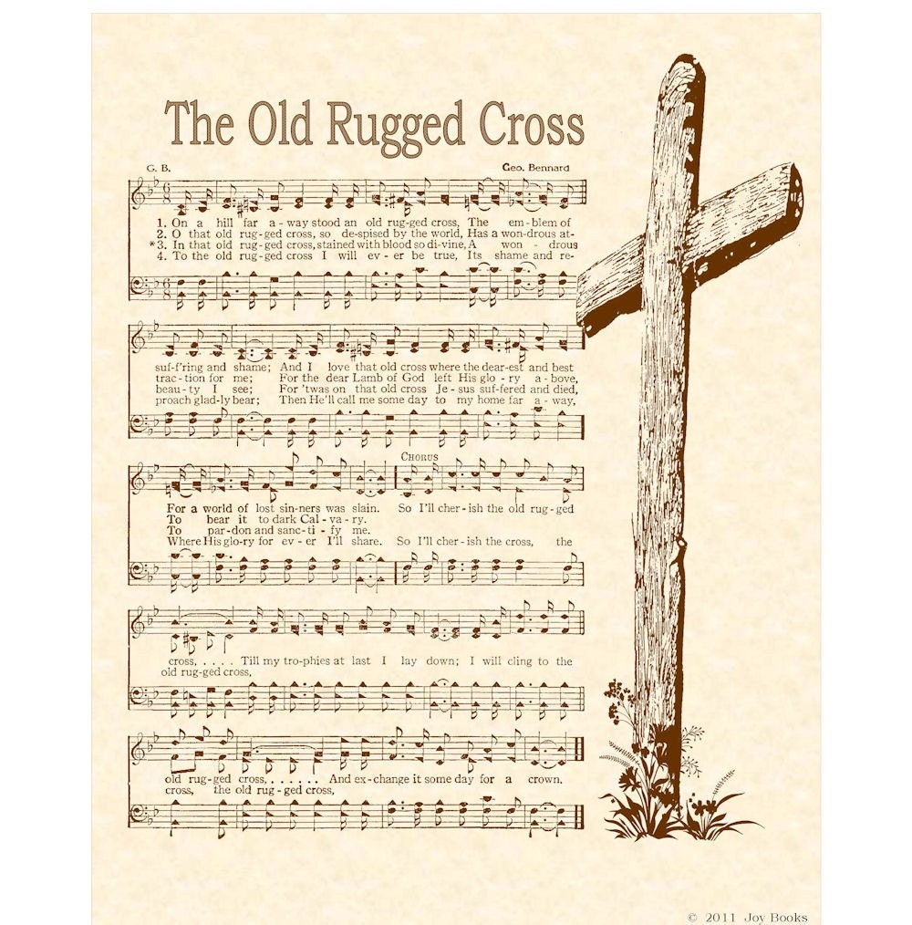 Old Rugged Cross 8 X 10 Antique Hymn Art Print By